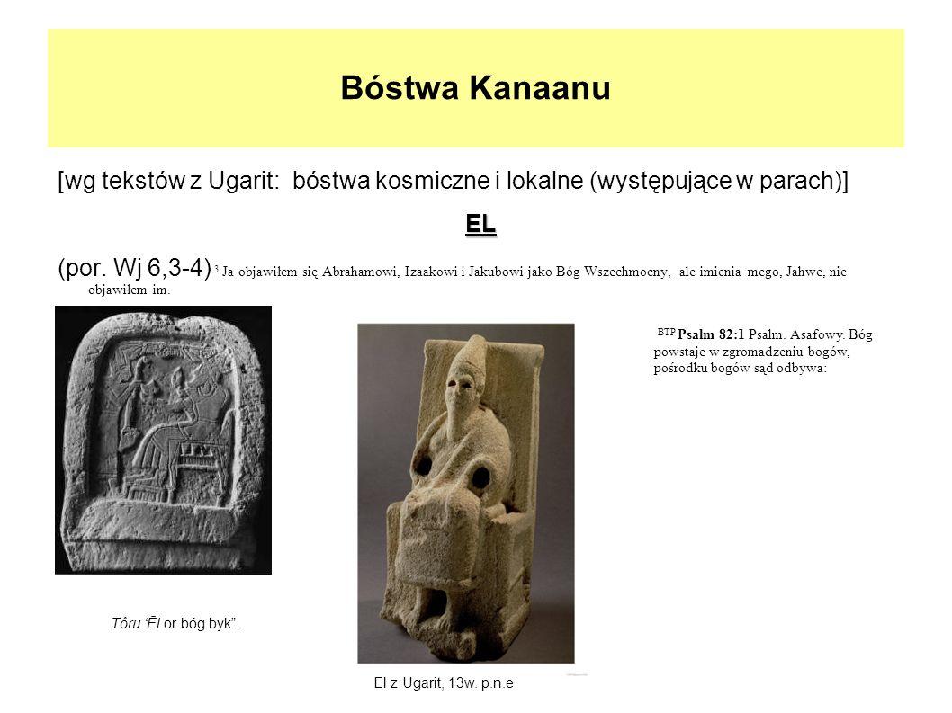 Bóstwa Kanaanu[wg tekstów z Ugarit: bóstwa kosmiczne i lokalne (występujące w parach)] EL.